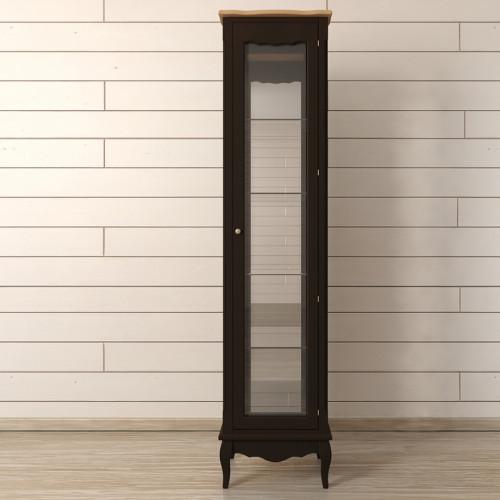 """Шкаф """"Leontina Black"""" для посуды узкий/высокий"""